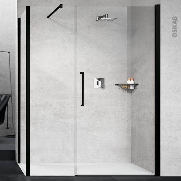 Porte de douche - pivotante NOVELLINI - 100 cm - Verre transparent - profilés noir