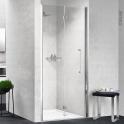 Porte de douche - pliante NOVELLINI - 80 cm - Gauche - Verre transparent - profilés chromés