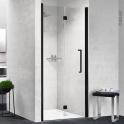 Porte de douche - pliante NOVELLINI - 90 cm - Gauche - Verre transparent - profilés noirs