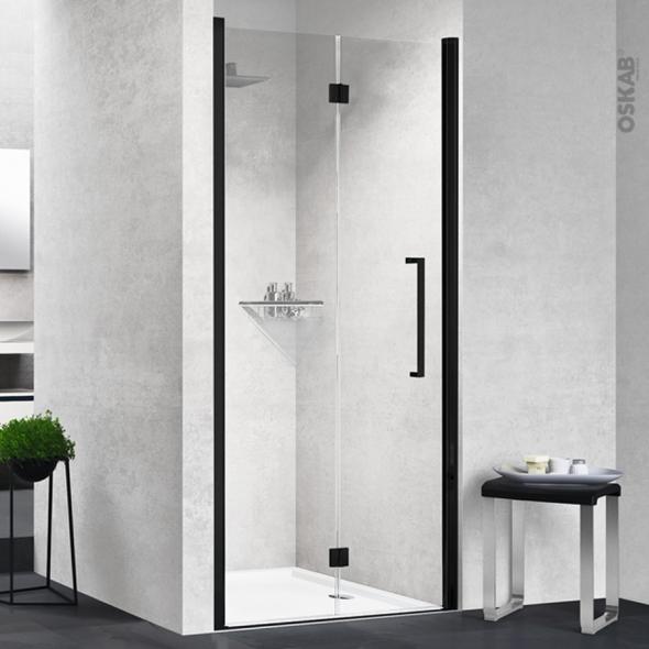 Porte de douche - pliante NOVELLINI - 80 cm - Gauche - Verre transparent - profilés noirs