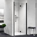 Porte de douche - pliante NOVELLINI - 80 cm - Droite - Verre transparent - profilés noirs