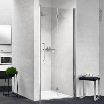 Porte de douche - pliante NOVELLINI - 80 cm - Droite - Verre transparent - profilés chromés