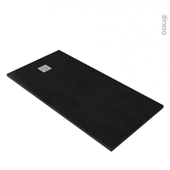 receveur de douche extra plat bali r sine rectangulaire 160x80 cm noir oskab. Black Bedroom Furniture Sets. Home Design Ideas