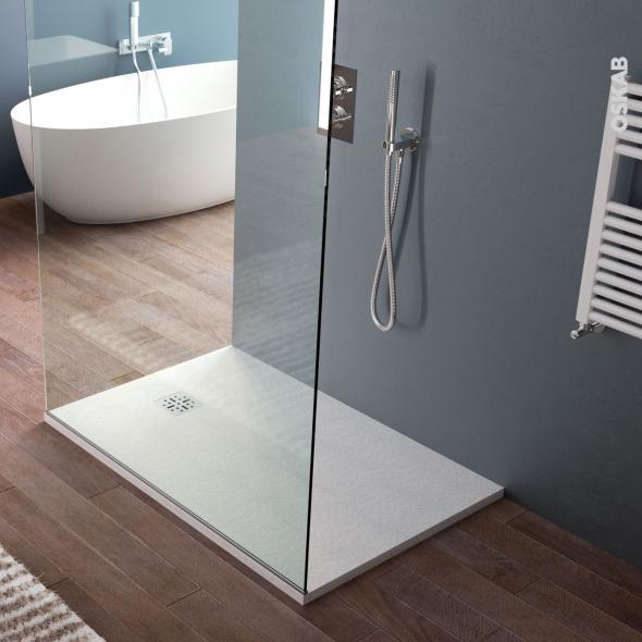 Receveur de douche extra-plat BALI - Résine - Rectangulaire 120x80cm - Blanc