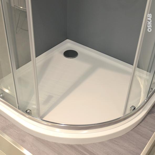 Receveur de douche - SAMOA - Acrylique - 1/4 de cercle 90x90 cm - Blanc