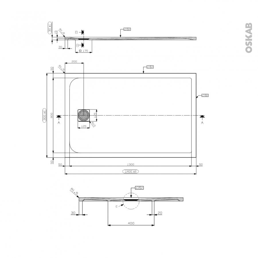 receveur de douche extra plat bali r sine rectangulaire 140x90 cm blanc oskab. Black Bedroom Furniture Sets. Home Design Ideas