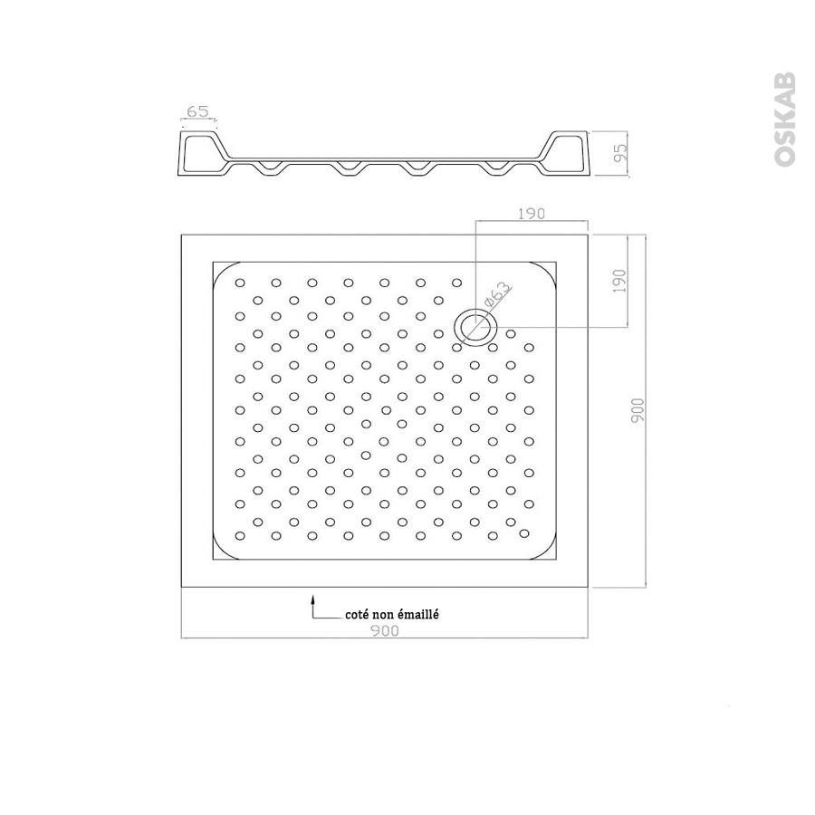 Receveur de douche kos gr s maill carr 90x90 cm blanc - Plan salle de douche ...