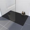 Receveur de douche - Extra-plat CUBA - Résine - Rectangulaire 140x80 cm - Noir