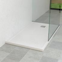 Receveur de douche - Extra-plat FIDJI - Résine - Rectangulaire 120x80 cm - Blanc