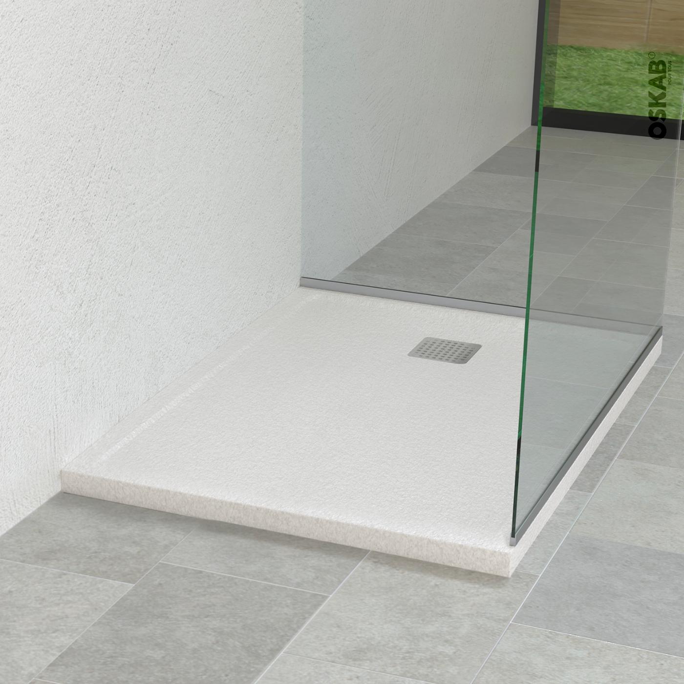 receveur de douche extra plat fidji resine carre 80x80 cm blanc