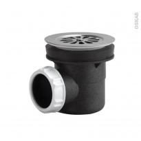 Bonde receveur de douche - Grille inox chromée - Sortie horizontale - Diam. 60 - VALENTIN