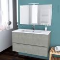 Meuble de salle de bains - Plan vasque REZO - FAKTO Béton - 2 tiroirs - Côtés décors - L100,5 x H58,5 x P50,5 cm