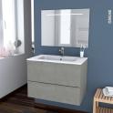 Ensemble salle de bains - Meuble FAKTO Béton - Plan vasque résine - Miroir lumineux - L80,5 x H58,5 x P50,5 cm