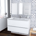 Ensemble salle de bains - Meuble BORA Blanc - Plan vasque résine - Miroir et éclairage - L100,5 x H58,5 x P50,5 cm