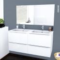 Ensemble salle de bains - Meuble BORA Blanc - Plan double vasque résine - Miroir lumineux - L120,5 x H58,5 x P50,5 cm