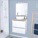 Ensemble salle de bains - Meuble BORA Blanc - Plan de toilette Chęne clair Ikoro - Vasque ronde - Miroir et éclairage - L60 x H57 x P40 cm