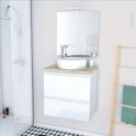 Ensemble salle de bains - Meuble IPOMA Blanc brillant - Plan de toilette Chêne clair Ikoro - Vasque ronde - Miroir et éclairage - L60 x H57 x P40 cm
