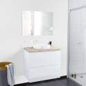 Ensemble salle de bains - Meuble IPOMA Blanc brillant - Plan de toilette Chêne clair Ikoro - Vasque ronde - Miroir lumineux - L80 x H70 x P50 cm