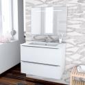 Ensemble salle de bains - Meuble BORA Blanc - Plan vasque résine - Miroir lumineux - L80,5 x H58,5 x P50,5 cm