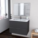 Ensemble salle de bains - Meuble GINKO Gris - Plan vasque résine - Miroir lumineux - L80,5 x H58,5 x P50,5 cm