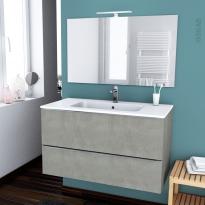 FAKTO BETON - Ensemble meuble salle de bains - Meuble, plan vasque résine, miroir et éclairage - L100,5xH58,5xP50,5