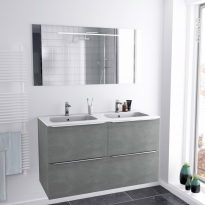 FAKTO BETON - Ensemble salle de bains - Meuble, plan double vasque résine et miroir rétro éclairé - L120,5 x H71,5 x P50,5 cm