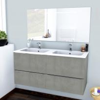 FAKTO BETON - Ensemble meuble salle de bains - Meuble, plan double vasque résine et miroir rétro éclairé - L120,5xH58,5xP50,5