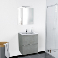 Ensemble salle de bains - Meuble FAKTO Béton - Plan vasque résine - Miroir et éclairage - L60,5 x H71,5 x P50,5 cm