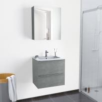Ensemble salle de bains - Meuble FAKTO Béton - Plan vasque résine - Armoire de toilette - L60,5 x H58,5 x P40,5 cm
