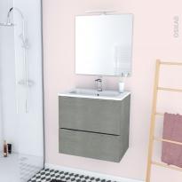 FAKTO BETON - Ensemble meuble salle de bains - Meuble, plan vasque résine, miroir et éclairage - L60,5xH58,5xP40,5