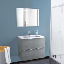 Ensemble salle de bains - Meuble FAKTO Béton - Plan vasque résine - Miroir lumineux - L80,5 x H71,5 x P50,5 cm