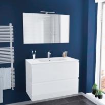 Ensemble salle de bains - Meuble IPOMA Blanc brillant - Plan vasque résine - Miroir et éclairage - L100,5 x H71,5 x P50,5 cm