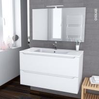 Ensemble salle de bains - Meuble PIMA Blanc - Plan vasque résine - Miroir et éclairage - L100,5 x H58,5 x P50,5 cm