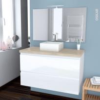 IPOMA BLANC - Ensemble meuble salle de bains - Meuble, plan de toilette, vasque, miroir et éclairage - L100xH57xP50