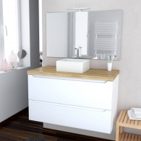 Ensemble salle de bains - Meuble PIMA Blanc - Plan de toilette Hosta - Vasque carrée - Miroir et éclairage - L100 x H57 x P50 cm