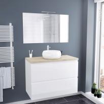 Ensemble salle de bains - Meuble IPOMA Blanc brillant - Plan de toilette Hosta - Vasque ronde - Miroir et éclairage - L100 x H70 x P50 cm