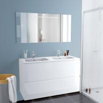 Ensemble salle de bains - Meuble IPOMA Blanc brillant - Plan double vasque résine - Miroir lumineux - L120,5 x H71,5 x P50,5 cm