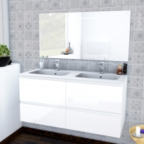 Ensemble salle de bains - Meuble IPOMA Blanc brillant - Plan double vasque résine - Miroir lumineux - L120,5 x H58,5 x P50,5 cm