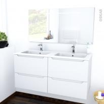 Ensemble salle de bains - Meuble PIMA Blanc - Plan double vasque résine - Miroir lumineux - L120,5 x H58,5 x P50,5 cm
