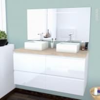 Ensemble salle de bains - Meuble IPOMA Blanc brillant - Plan de toilette Hosta - Double vasque - Miroir lumineux - L120 x H57 x P50 cm