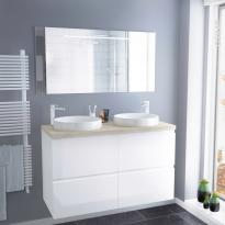 Ensemble salle de bains - Meuble IPOMA Blanc brillant - Plan de toilette Hosta - Double vasque - Miroir lumineux - L120 x H70 x P50 cm