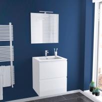 Ensemble salle de bains - Meuble IPOMA Blanc brillant - Plan vasque résine - Miroir et éclairage - L60,5 x H71,5 x P50,5 cm