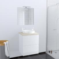 Ensemble salle de bains - Meuble IPOMA Blanc brillant - Plan de toilette Hosta - Vasque ronde - Miroir et éclairage - L60 x H70 x P50 cm