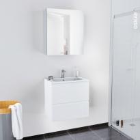 Ensemble salle de bains - Meuble IPOMA Blanc brillant - Plan vasque résine - Armoire de toilette - L60,5 x H58,5 x P40,5 cm