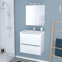 Ensemble salle de bains - Meuble BORA Blanc - Plan vasque résine - Miroir et éclairage - L60,5 x H58,5 x P40,5 cm