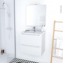 PIMA BLANC - Ensemble meuble salle de bains - Meuble, plan vasque résine, miroir et éclairage - L60,5xH58,5xP40,5