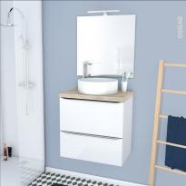 Ensemble salle de bains - Meuble BORA Blanc - Plan de toilette Hosta - Vasque ronde - Miroir et éclairage - L60 x H57 x P40 cm
