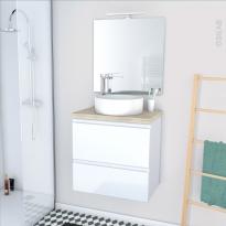 Ensemble salle de bains - Meuble IPOMA Blanc brillant - Plan de toilette Hosta - Vasque ronde - Miroir et éclairage - L60 x H57 x P40 cm
