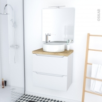 PIMA BLANC - Ensemble meuble salle de bains - Meuble, plan de toilette, vasque, miroir et éclairage - L60xH57xP40