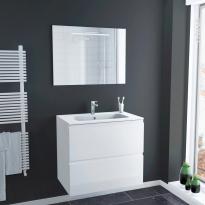 Ensemble salle de bains - Meuble IPOMA Blanc brillant - Plan vasque résine - Miroir lumineux - L80,5 x H71,5 x P50,5 cm